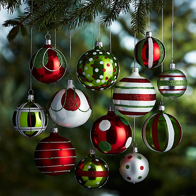 Set of 12 Red and Green Ornaments