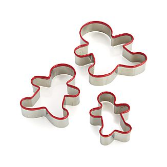 Red Grip Gingerbread Man Cookie Cutters Set of 3