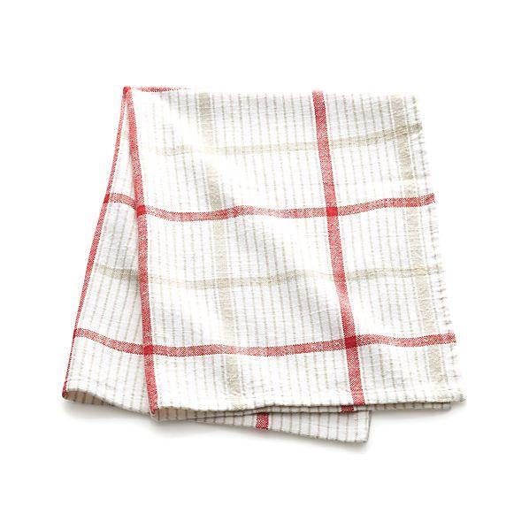 Red Neutral Plaid Dish Towel