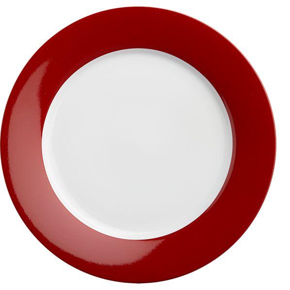 Red Rim Salad Plate