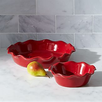 Red Ruffled Pie Dishes