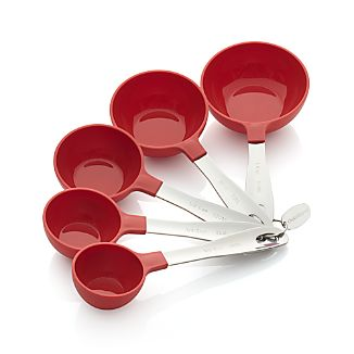Set of 5 Red Stainless Steel Measuring Cups