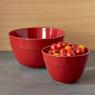 Red Scalloped Mixing Bowls Set of Two