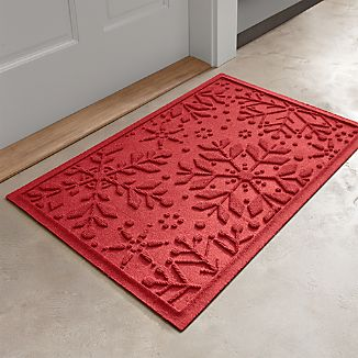Red Snowflake Doormat