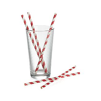 Set of 24 Red & White Striped Straws