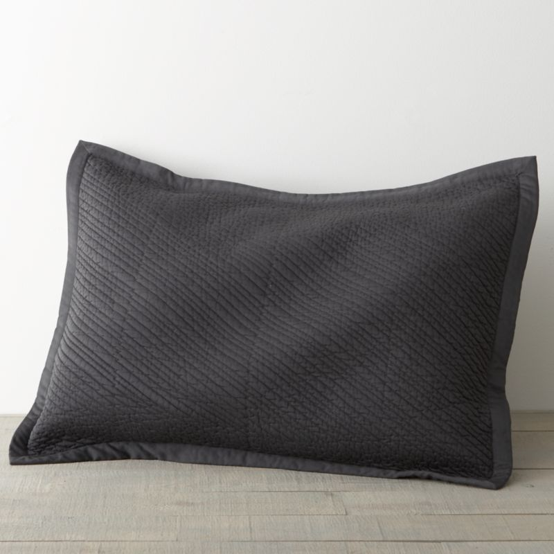 Soft cotton slate sateen shams showcase diagonal channel-quilting in a simply rich high-low effect that layers well with others. Finished with overlapping back closures. Bed pillows also available.<br /><br /><NEWTAG/><ul><li>100% cotton</li><li>210-thread-count</li><li>Made in India</li></ul>