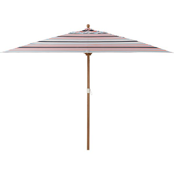 Rectangular Sunbrella ® Regatta Stripe Umbrella with Eucalyptus Frame