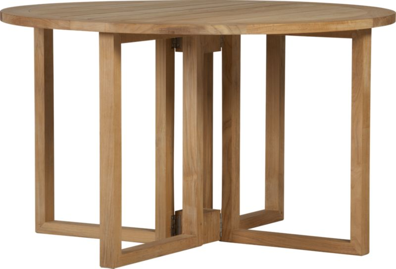 Our eco-friendly Regatta teak dining collection cuts a clean, classic profile in a bold wide-slat design, handcrafted with mortise-and-tenon joinery and finished with galvanized steel hardware. Space-saving drop-leaf table is outfitted with a built-in umbrella stand. Quality plantation-grown teak is supported by the TFT, a nonprofit organization that promotes responsible forest conservation. We recommend allowing the unfinished teak to weather to a silvery grey. To maintain the natural color, use our Golden Care® Teak Protector. Regatta lounge collection also available.<br /><br /><NEWTAG/><ul><li>Solid teak harvested from plantations working with TFT</li><li>Unfinished</li><li>Mortise-and-tenon joinery</li><li>Stainless steel hardware</li><li>Seats up to four</li><li>Umbrella opening with self-storing plug provided</li><li>Made in Indonesia</li></ul>