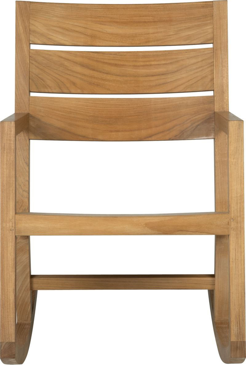 Our new eco-friendly Regatta teak dining collection cuts a clean, classic profile in a bold wide-slat design. Mid-size rocking chair is handcrafted of quality plantation-grown teak supported by the TFT, a nonprofit organization that promotes responsible forest conservation. We recommend allowing the unfinished teak to weather to a silvery grey. To maintain the natural color, use our Golden Care® Teak Protector. Regatta dining collection also available.<br /><ul><li>Solid teak harvested from plantations working with TFT</li><li>Unfinished</li><li>Mortise-and-tenon  joinery</li><li>Stainless steel hardware</li><li>Made in Indonesia</li></ul><NEWTAG/>