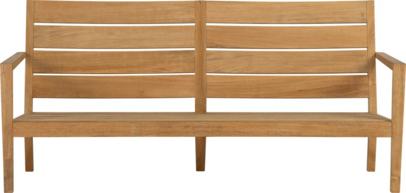 Our new eco-friendly Regatta teak lounge collection cuts a clean, classic profile in a bold wide-slat design. Relax on a full-size sofa with sleek arms and comfortable angled backs. All pieces are handcrafted of plantation-grown teak supported by the TFT, a nonprofit organization that promotes responsible forest conservation. We recommend allowing the unfinished teak to weather to a silvery grey. To maintain the natural color, use our Golden Care® Teak Protector.<br /><ul><li>Solid teak harvested from plantations working with TFT</li><li>Unfinished</li><li>Mortise-and-tenon  joinery</li><li>Stainless steel hardware</li><li>Made in Indonesia</li></ul><NEWTAG/>