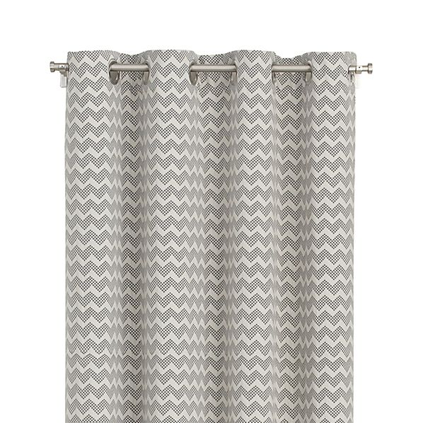 "Reilly 50""x84"" Grey Chevron Curtain Panel"