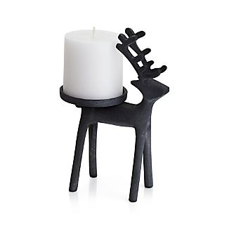 Reindeer Zinc Pillar Candle Holder