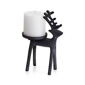 Reindeer Zinc Pillar Candle Holder