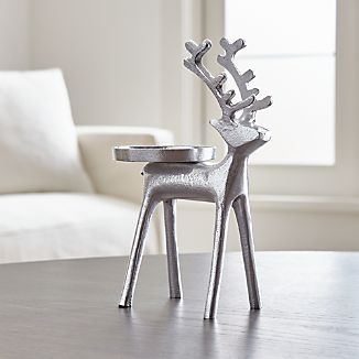 Silver Reindeer Pillar Candle Holder