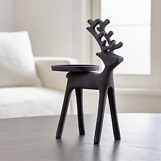 Zinc Reindeer Pillar Candle Holder