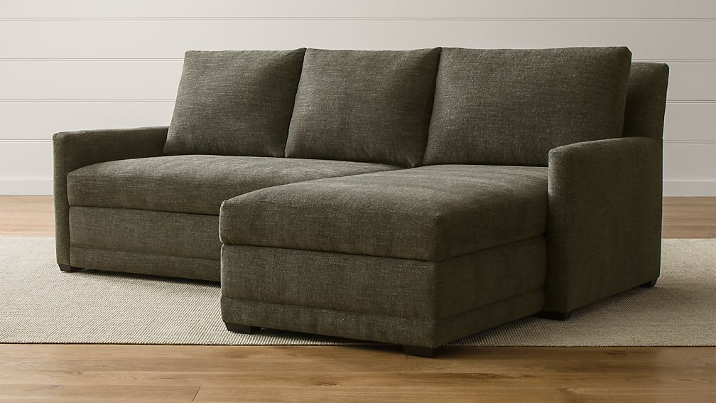 Reston 2 piece sleeper sectional sofa curious charcoal for Crate and barrel lounge 2 piece sectional sofa