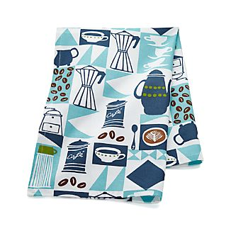 Retro Coffee Blue-White Dish Towel