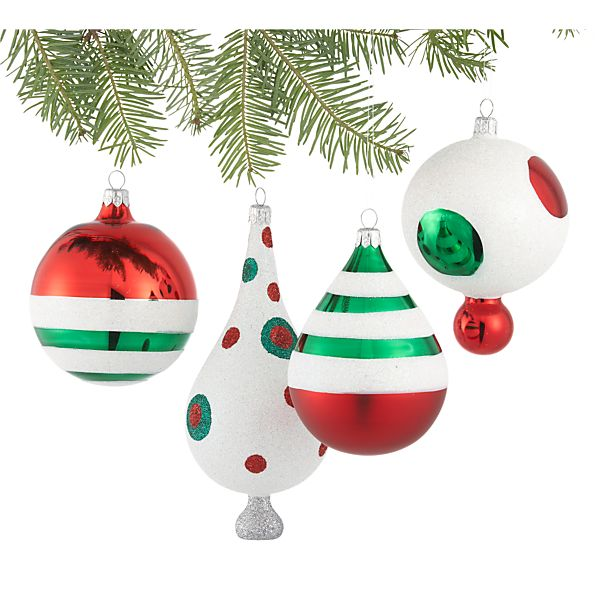 Set of 4 Retro Ornaments