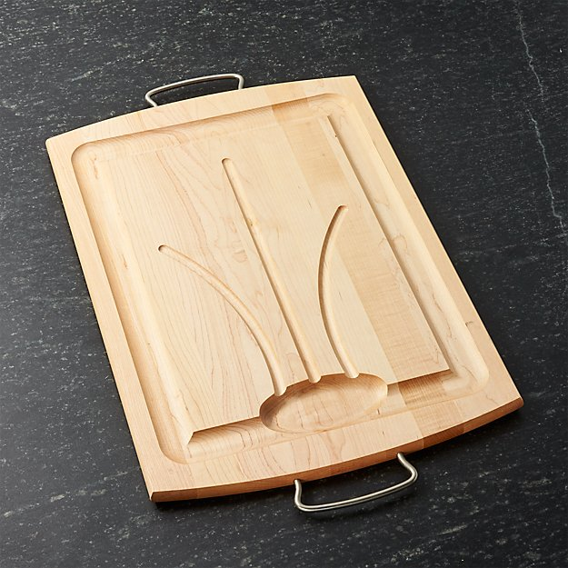 Maple carving board with handles crate and barrel