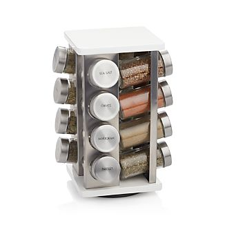 16-Bottle White Revolving Spice Rack