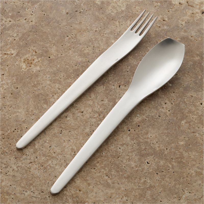 Ultra-modern stainless steel flatware pares down into the most minimal of shapes, brushed to a matte luster. Sculptural, contiguous shapes showcase blunt-edged spoons and taper to a rounded edge.<br /><br /><strong>Please note:</strong> This pattern will be discontinued in June 2014.<br /><br /><NEWTAG/><ul><li>18/10 stainless steel</li><li>Dishwasher-safe</li><li>Made in Portugal</li></ul>