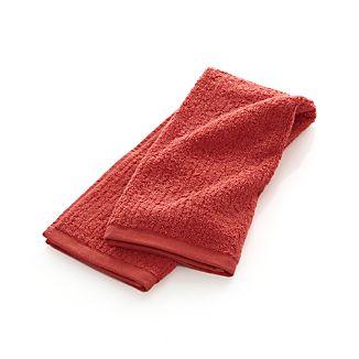 Ribbed Coral Hand Towel