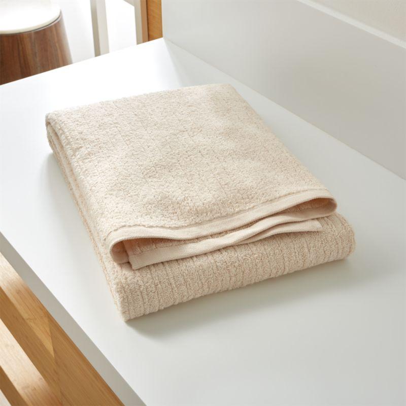 Ribbed Cream Bath Sheet