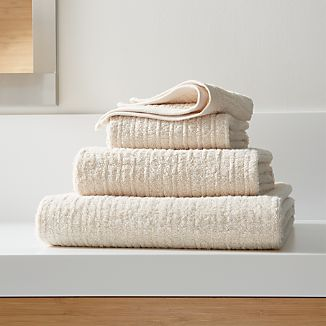 Ribbed Cream Bath Towels