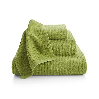 Ribbed Green Bath Towels