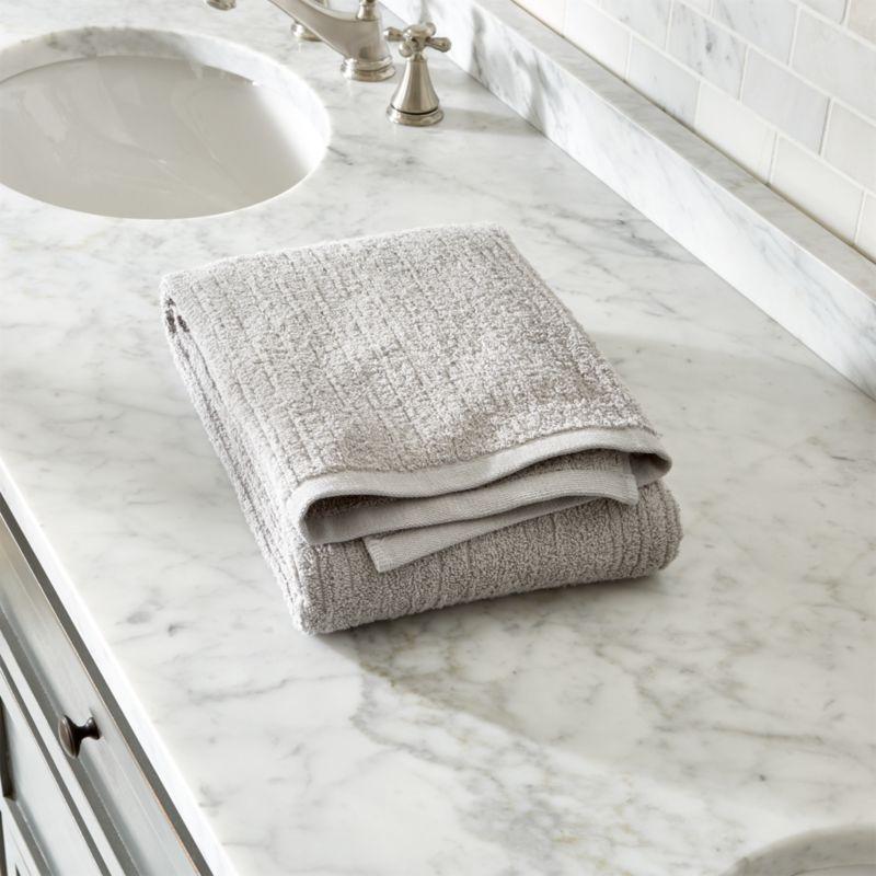 Ribbed Grey Bath Towel Crate And Barrel