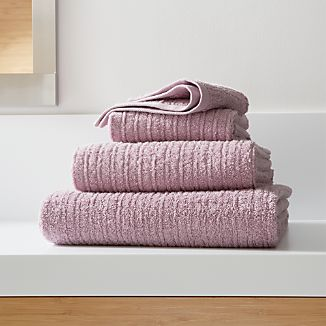 Ribbed Purple Bath Towels