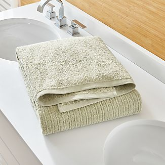 Ribbed Sage Green Bath Sheet