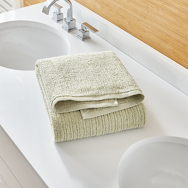 Ribbed Sage Green Bath Towel