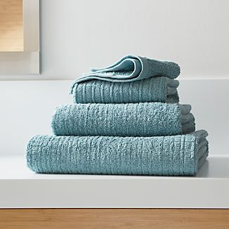 Ribbed Teal Bath Towels