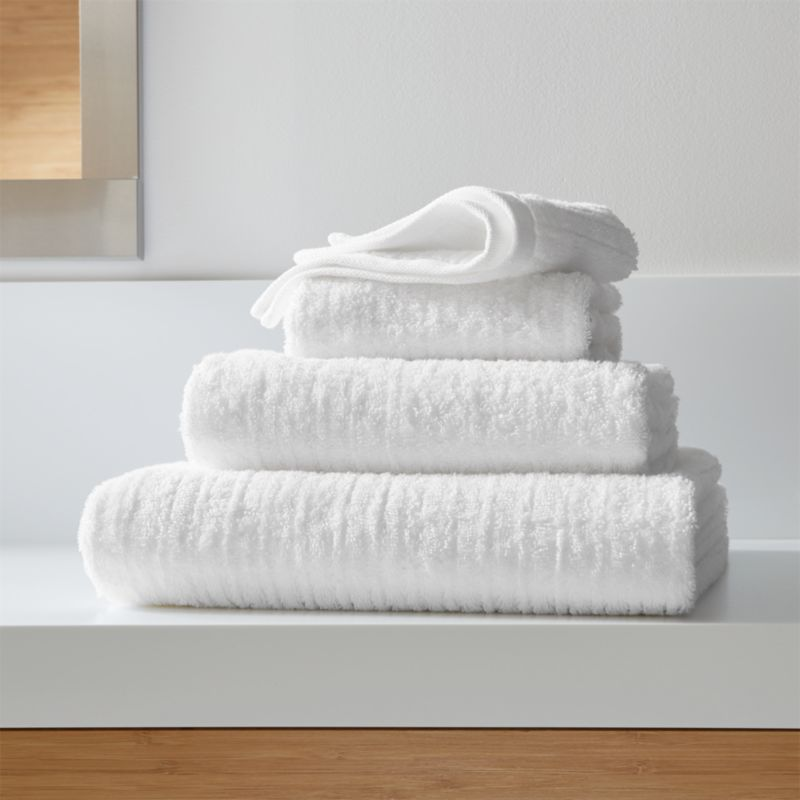 Ribbed White Bath Towels Crate And Barrel