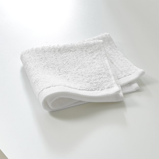 Ribbed White Washcloth