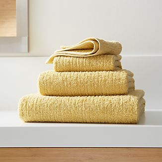 Ribbed Yellow Bath Towels