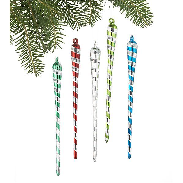 Set of 5 Ribbon Icicle Ornaments