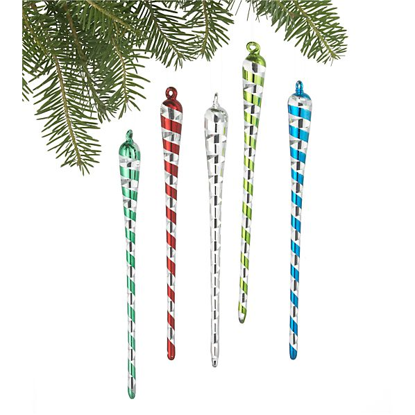 Set of 5 Ribbon Icicle Ornaments