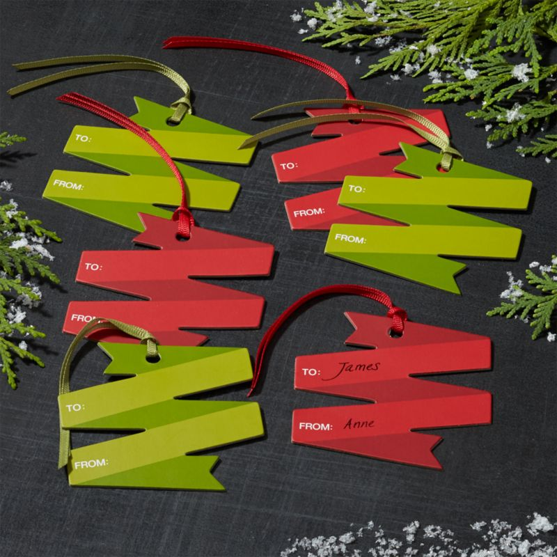 Ribbon Scroll Red/Green Gift Tags Set of 6