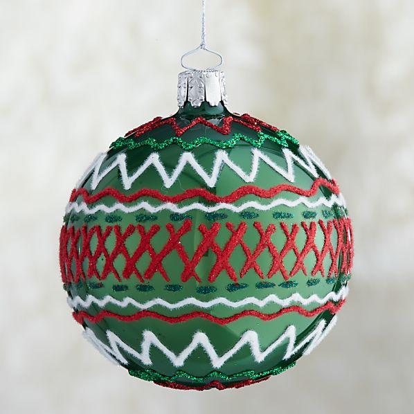 Green Ric-Rac Ball Ornament