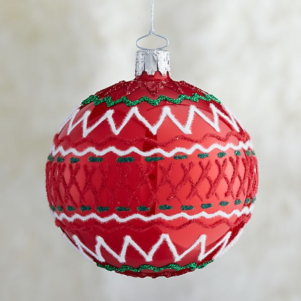 Red Ric-Rac Ball Ornament