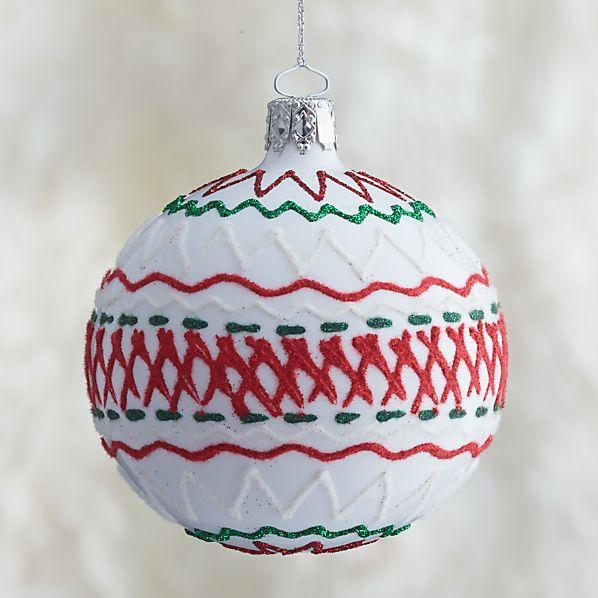 White Ric-Rac Ball Ornament