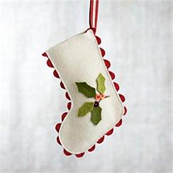 Ric Rac Stocking with Mistletoe Ornament