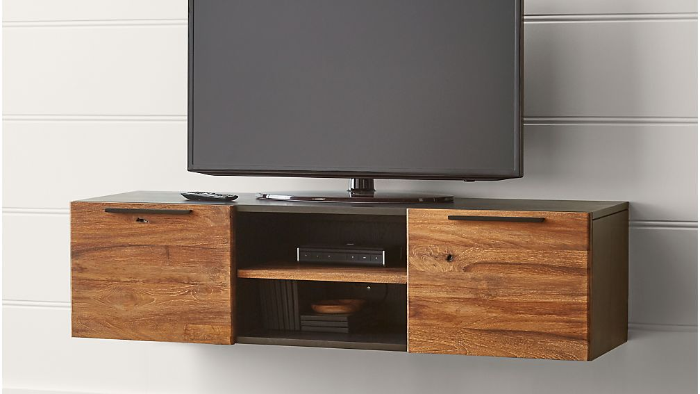 Rigby 55 small floating media console crate and barrel for Short tv stand ikea