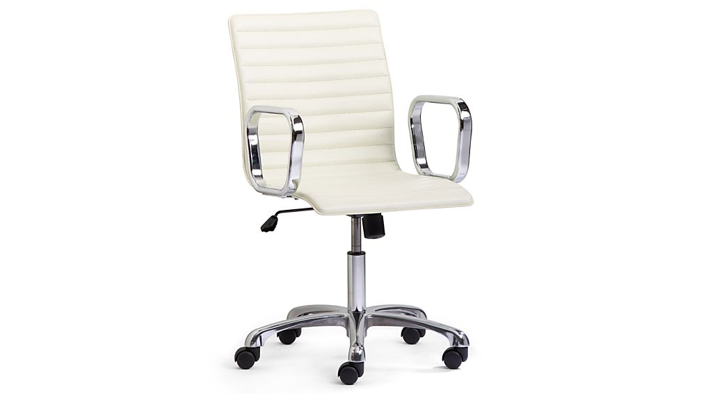 Ripple Ivory Leather Office Chair