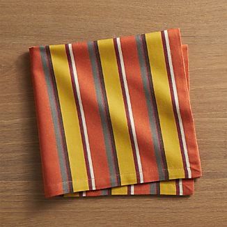 Riva Striped Orange Cloth Napkin