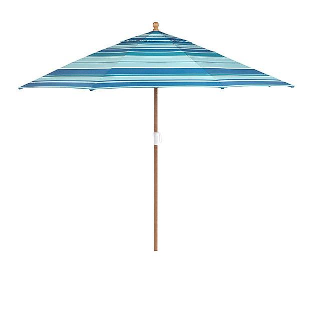 9 Round Sunbrella Seaside Striped Patio Umbrella with