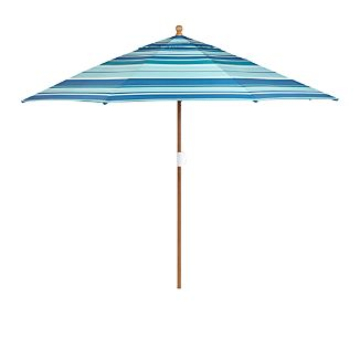 9' Round Sunbrella ® Seaside Striped Patio Umbrella with FSC Eucalyptus Frame
