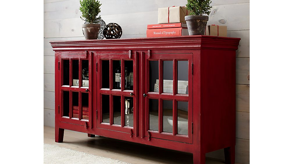 Rojo Red 62 Quot Media Console Crate And Barrel